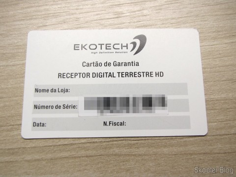 Warranty card EKOTECH ZBT-670N