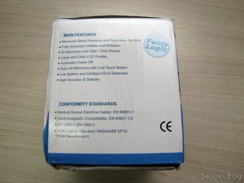 Monitor de Pressão Arterial de Pulso Totalmente Automático Happy Life HPL-100, em sua embalagem