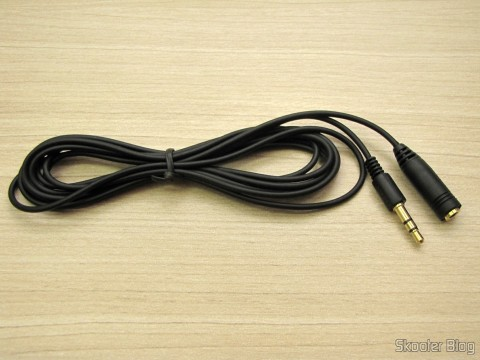 Cabo Extensor de Áudio 3.5mm (P2 fêmea - P2 macho) de 2 metros (3.5mm Extension Audio Cable - Black (2M-Length))