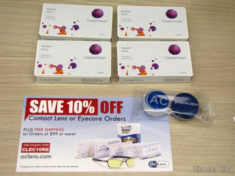 4 Contact Lens Cooper Vision Avaira Toric boxes, coupon and freebie kit of contact lenses