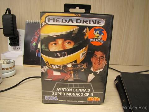 Cartucho Ayrton Senna's Super Monaco GP II, na caixa