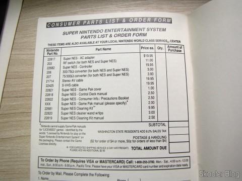 Formulário no manual do Super Nintendo para compras de itens extras ou opcionais