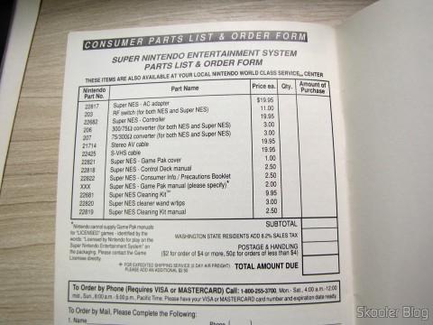 Form in the Super Nintendo manual for extras or optional purchases