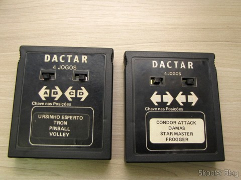 Cartridge 4 Dactar games with Condor Attack, Ladies, Star Master, and Frogger; and Cartridge Box 4 Games Apple Vision with Smart Bear, Tron, Pinball, and Volleyball