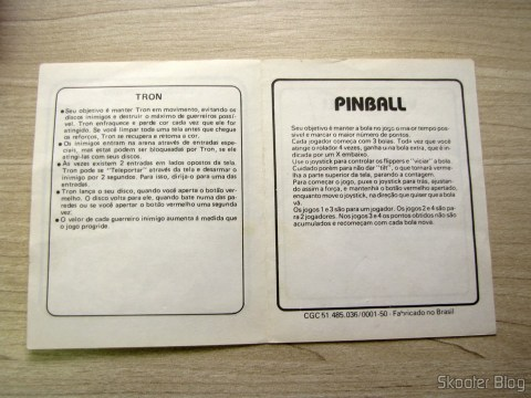 Manual do Cartucho de 4 Jogos Apple Vision com Ursinho Esperto, Tron, Pinball, e Volley