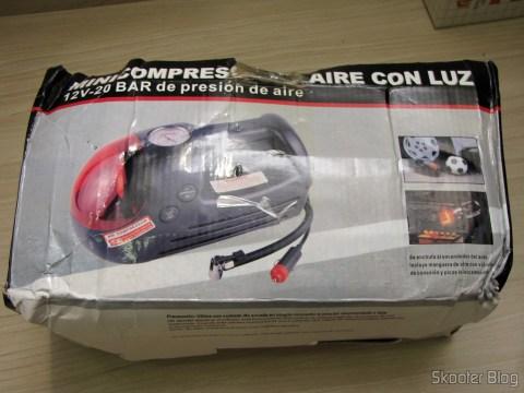 Mini Compressor/Bomba de Ar para Carro 12V (Mini Car Air Pump Compressor Tire Gauge - Black + Silver (DC 12V)), em sua embalagem