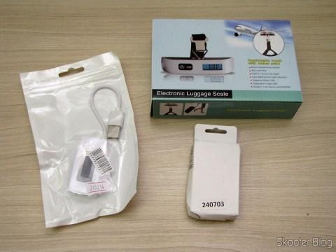 """Bateria BL-5C-GD 3.7V """"2450mAh"""" Golden, Balança Digital de Bagagem com LCD 1.4"""" 50Kg/50g e Testador de Tensão, Corrente, Carga e Transmissão de Dados USB com display LCD"""
