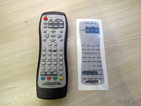 Remote Control Framemeister XRGB Mini and the adhesive with the texts in English