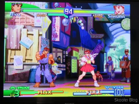 Cabo SCART RGB do Playstation (Sync-on-Luma) com upgrade para Cabo com múltiplos núcleos de mini coaxial, em funcionamento