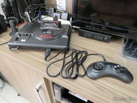 "Genesis ""GN6"" Controller (Hyperkin) connected to the Sega Genesis"