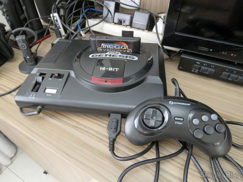 "Genesis ""GN6"" Controller (Hyperkin) connected to the Sega Genesis"