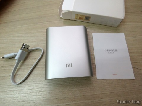 XIAOMI Genuine 10400mAh USB Mobile Power Source Bank w/ 4-LED Indicators – Silver + White, manual & cable