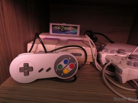 Controle Clássico com Fio para Super Nintendo SNES e Retro-Duo TX Tech e meu Super Nintendo