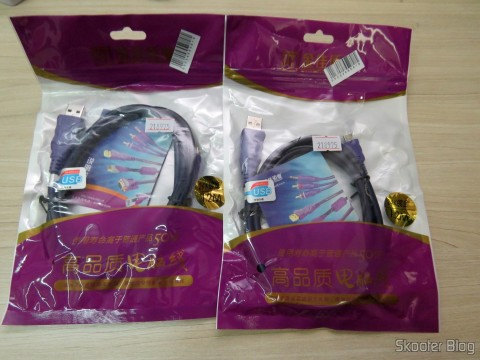 Two Millionwell 01.0287 USB Male to Micro USB Male Data / Charging Cable – Purple (1.2m), in their packaging