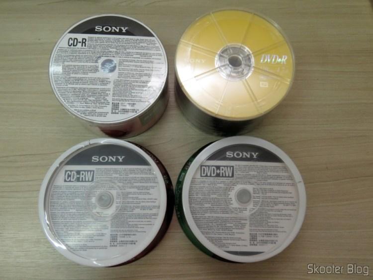 Mídias CD-R, CD-RW, DVD+R e DVD+RW Sony