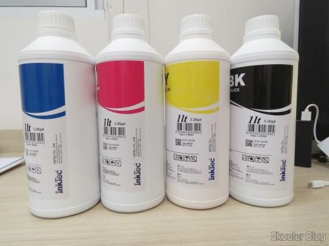 Tintas Inktec para cartuchos HP 940, 940XL, 942XL, 950 e 950XL: H8940-01LC, H8940-01LM, H8940-01LY, e H8940-01LB