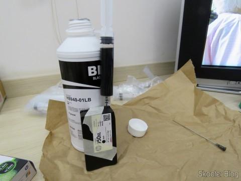 Colocando tinta e tirando o ar do cartucho HP 950XL