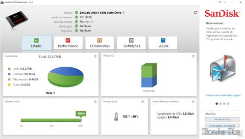 Sandisk Ultra II Information provided by Sandisk SSD 240GB Dashboard