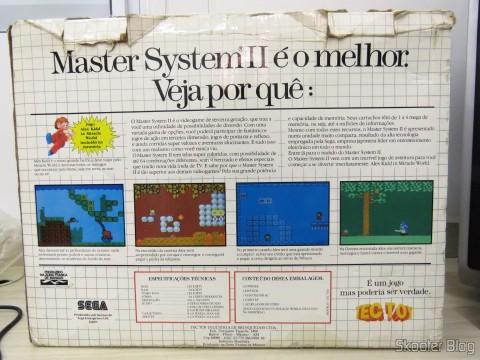 Parte traseira da Caixa do Master System II da Tec Toy - Promoção Jogos de Verão
