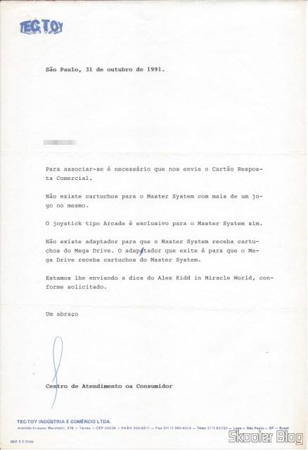 Carta da Tec Toy - 31 de Outubro de 1991