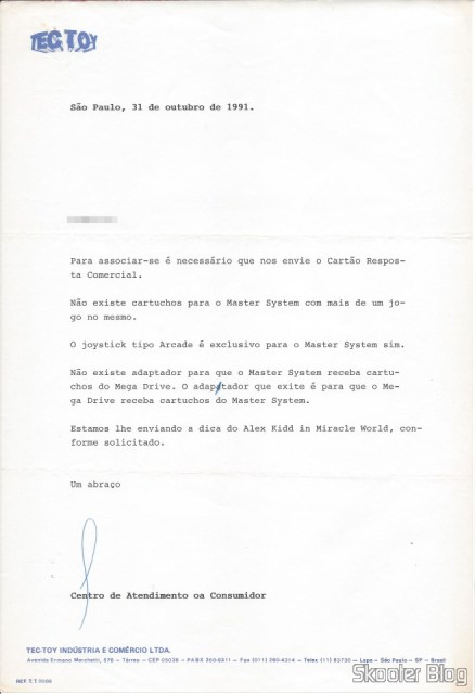 Carta da Tec Toy - 31 October 1991