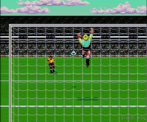 Goal! - Super Nintendo - The camera behind the goal in some kicks from outside the box
