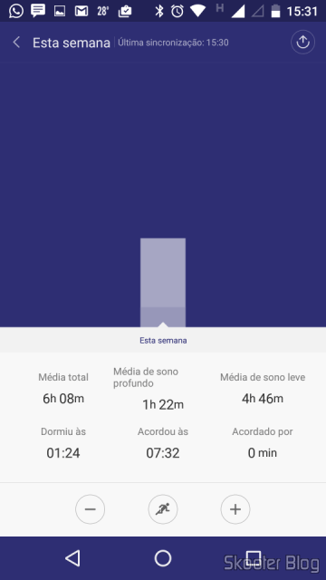 Graph of the sleep logs generated by Mi Fit
