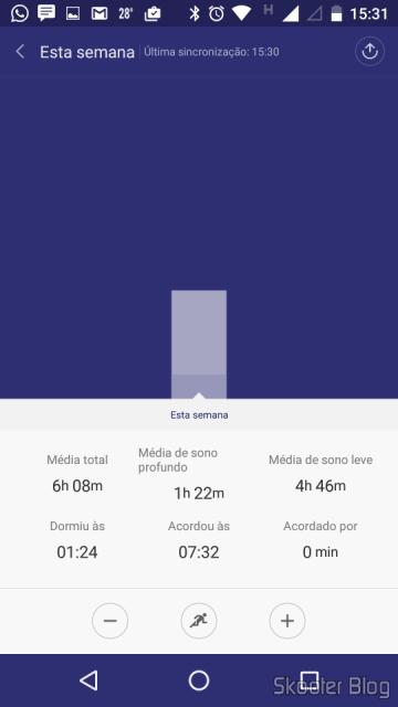 Gráfico dos registros de sono gerados pelo Mi Fit