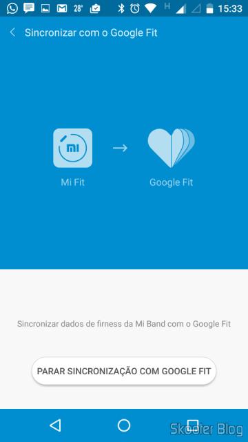 O Mi Fit pode ser sincronizado com o Google Fit