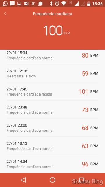 Histórico de medidas de frequência cardíaca no Mi Fit
