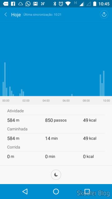 Gráfico de barras mostrando as atividades durante o dia no Mi Fit