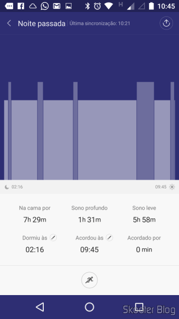 Bar chart showing the sleep throughout the night in Mi Fit