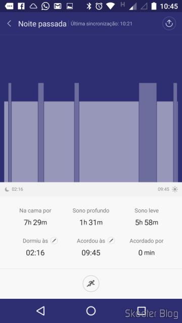 Gráfico de barras mostrando o sono ao longo da noite no Mi Fit