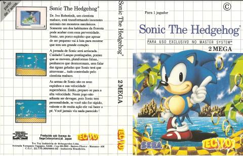 Capa do Sonic The Hedgehog, para o Master System