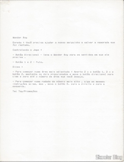 Dicas Tec Toy - Wonder Boy - Master System