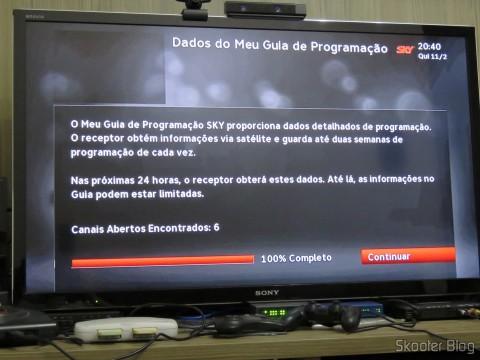 Módulo de TV Aberta Sky HDTV SIM25 (S-IM25-700) buscando os canais abertos