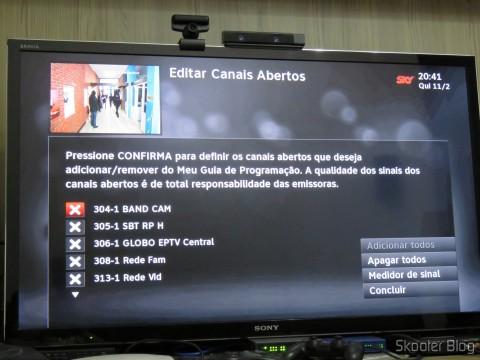 Módulo de TV Aberta Sky HDTV SIM25 (S-IM25-700) exibe os canais encontrados