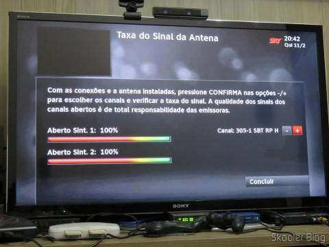 Módulo de TV Aberta Sky HDTV SIM25 (S-IM25-700) exibe a intensidade do sinal de um canal