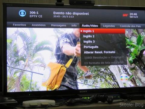 É possível selecionar áudios e legendas dos canais abertos com o Módulo de TV Aberta Sky HDTV SIM25 (S-IM25-700)