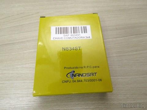Chave Comutadora 3x4 Nanosat NS34ST em sua embalagem