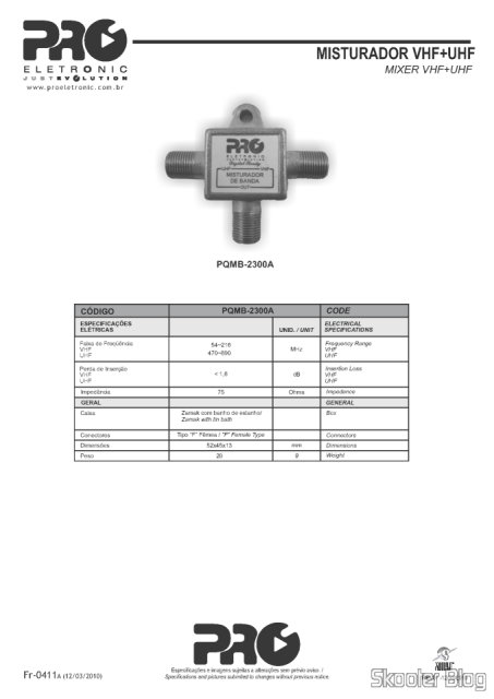 PDF with technical specifications of the Proeletronic PQMB-2300B specifications on the website of Proeletronic