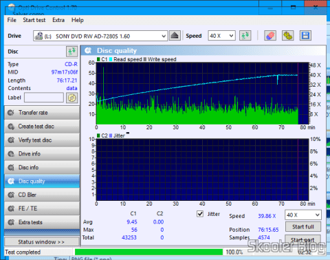 Teste de qualidade da primeira mídia gravada com o Gravador Blu-ray Pionner BDR 209-DBK