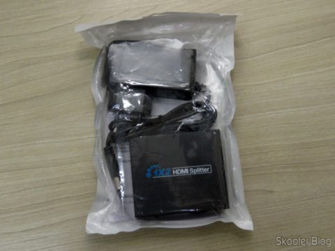 Splitter HDMI 1x2 1.3b 1080p 3D, em sua embalagem