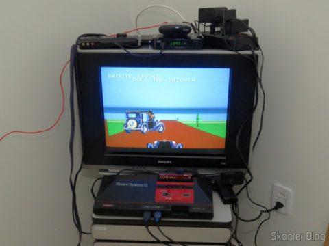 A TV CRT com o Master System II e a Pistola Light Phaser