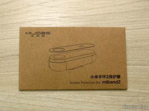Protective films for Xiaomi Mi Band 2, on its packaging