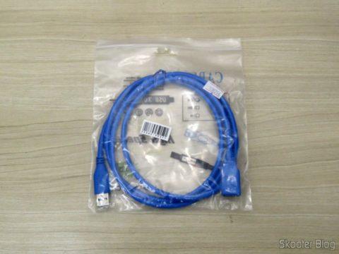 Cabo de Extensão USB 3.0 Macho para Fêmea, em sua embalagem
