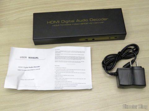 Decodificador e Extrator de Áudio HDMI para HDMI, SPDIF e Analógico 5.1, manual de instruções e fonte de alimentação