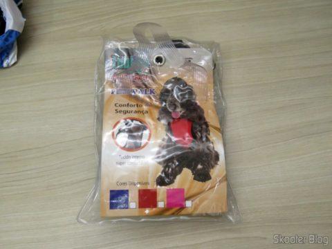 Coleira Peitoral Tubline com Guia Pet Walk Azul, em sua embalagem