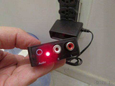 Decodificador de Áudio Óptico/Coaxial DTS/AC3 para Analógico Estéreo Wiistar, em funcionamento