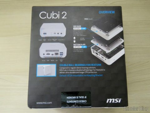 Parte de baixo da embalagem do MSI Cubi 2
